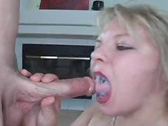 Straight, Mouth cum, Blonde swallow, Cum into mouth, Cum into her, Swallow cums