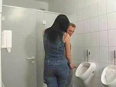 German, German bathroom, Brunette german, Bathroom german, In bathroom, Bathroom