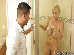 Milf, Facial, Bathroom, Blond milf, Facials, Milfs fuck