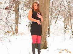 Red nylon, Nylon pantyhose, In nylons, Winters, In forest, Nyloned