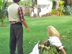 Big ass blonde, Threesome outdoor, Big anal threesome, Double blowjob, Babalu, Anal outdoor