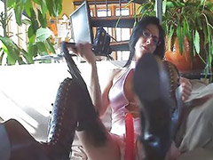 Boots, Leather, Big tits solo, Big tits brunettes, Amateur tease, French webcam